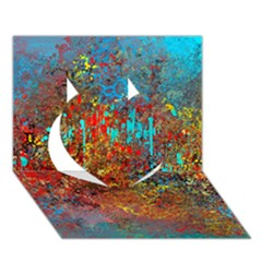 Abstract In Red, Turquoise, And Yellow Heart 3d Greeting Card (7x5)