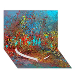 Abstract in Red, Turquoise, and Yellow Heart Bottom 3D Greeting Card (7x5)