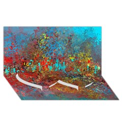 Abstract in Red, Turquoise, and Yellow Twin Heart Bottom 3D Greeting Card (8x4)