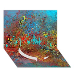 Abstract In Red, Turquoise, And Yellow Circle Bottom 3d Greeting Card (7x5)