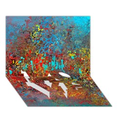 Abstract in Red, Turquoise, and Yellow LOVE Bottom 3D Greeting Card (7x5)