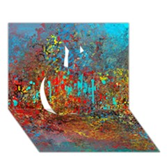 Abstract in Red, Turquoise, and Yellow Apple 3D Greeting Card (7x5)