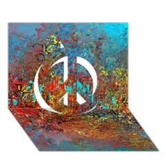 Abstract in Red, Turquoise, and Yellow Peace Sign 3D Greeting Card (7x5)