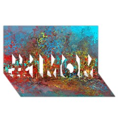Abstract In Red, Turquoise, And Yellow #1 Mom 3d Greeting Cards (8x4)