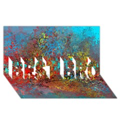 Abstract In Red, Turquoise, And Yellow Best Bro 3d Greeting Card (8x4)
