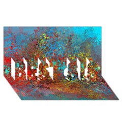 Abstract in Red, Turquoise, and Yellow BEST SIS 3D Greeting Card (8x4)