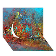 Abstract in Red, Turquoise, and Yellow Circle 3D Greeting Card (7x5)