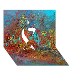 Abstract In Red, Turquoise, And Yellow Ribbon 3d Greeting Card (7x5)