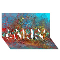 Abstract in Red, Turquoise, and Yellow SORRY 3D Greeting Card (8x4)