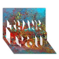 Abstract In Red, Turquoise, And Yellow Thank You 3d Greeting Card (7x5)