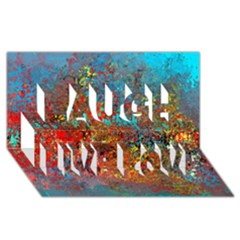 Abstract In Red, Turquoise, And Yellow Laugh Live Love 3d Greeting Card (8x4)