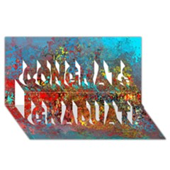 Abstract In Red, Turquoise, And Yellow Congrats Graduate 3d Greeting Card (8x4)