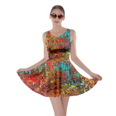 Abstract in Red, Turquoise, and Yellow Skater Dresses