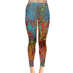Abstract in Red, Turquoise, and Yellow Women s Leggings