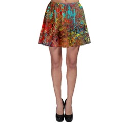 Abstract In Red, Turquoise, And Yellow Skater Skirts