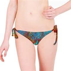Abstract In Red, Turquoise, And Yellow Bikini Bottoms