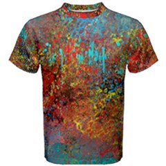 Abstract in Red, Turquoise, and Yellow Men s Cotton Tees