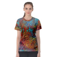Abstract In Red, Turquoise, And Yellow Women s Sport Mesh Tees