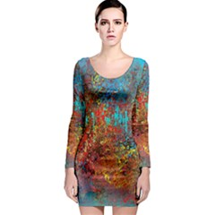 Abstract In Red, Turquoise, And Yellow Long Sleeve Bodycon Dresses