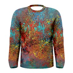 Abstract In Red, Turquoise, And Yellow Men s Long Sleeve T Shirts