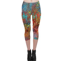 Abstract in Red, Turquoise, and Yellow Capri Leggings