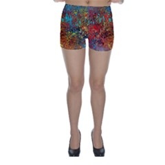 Abstract in Red, Turquoise, and Yellow Skinny Shorts