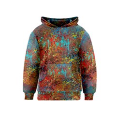 Abstract in Red, Turquoise, and Yellow Kid s Pullover Hoodies