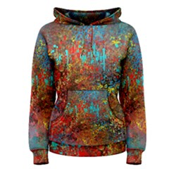 Abstract in Red, Turquoise, and Yellow Women s Pullover Hoodies