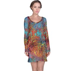 Abstract in Red, Turquoise, and Yellow Long Sleeve Nightdresses