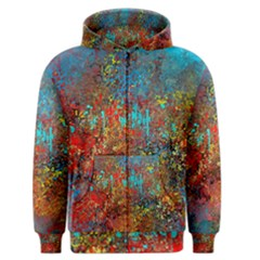Abstract In Red, Turquoise, And Yellow Men s Zipper Hoodies