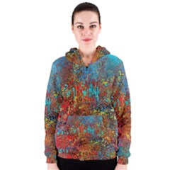 Abstract in Red, Turquoise, and Yellow Women s Zipper Hoodies