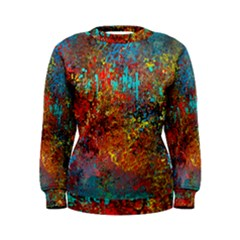 Abstract in Red, Turquoise, and Yellow Women s Sweatshirts