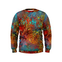 Abstract in Red, Turquoise, and Yellow Boys  Sweatshirts