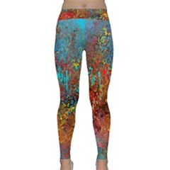 Abstract In Red, Turquoise, And Yellow Yoga Leggings