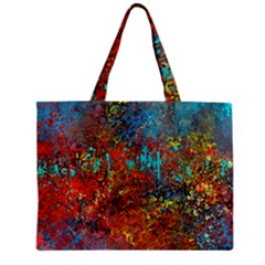 Abstract in Red, Turquoise, and Yellow Zipper Tiny Tote Bags