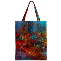 Abstract In Red, Turquoise, And Yellow Zipper Classic Tote Bags