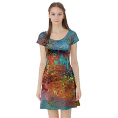 Abstract in Red, Turquoise, and Yellow Short Sleeve Skater Dresses