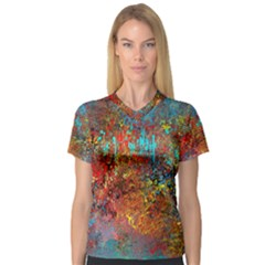 Abstract In Red, Turquoise, And Yellow Women s V Neck Sport Mesh Tee