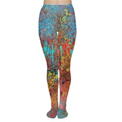 Abstract in Red, Turquoise, and Yellow Women s Tights