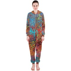 Abstract in Red, Turquoise, and Yellow Hooded Jumpsuit (Ladies)