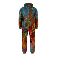 Abstract in Red, Turquoise, and Yellow Hooded Jumpsuit (Kids)