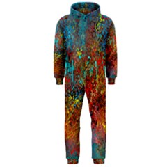 Abstract In Red, Turquoise, And Yellow Hooded Jumpsuit (men)