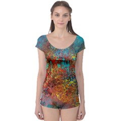 Abstract in Red, Turquoise, and Yellow Short Sleeve Leotard