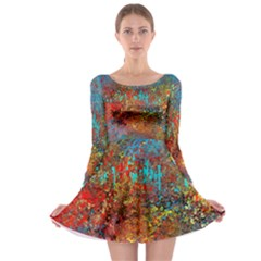 Abstract in Red, Turquoise, and Yellow Long Sleeve Skater Dress