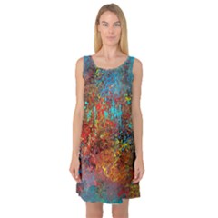 Abstract in Red, Turquoise, and Yellow Sleeveless Satin Nightdresses