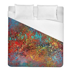 Abstract In Red, Turquoise, And Yellow Duvet Cover Single Side (twin Size)