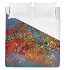 Abstract In Red, Turquoise, And Yellow Duvet Cover Single Side (full/queen Size)