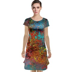 Abstract in Red, Turquoise, and Yellow Cap Sleeve Nightdresses