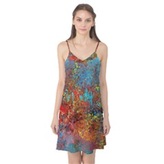 Abstract in Red, Turquoise, and Yellow Camis Nightgown