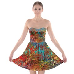 Abstract in Red, Turquoise, and Yellow Strapless Bra Top Dress